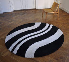 60/70er jahre teppich black/white