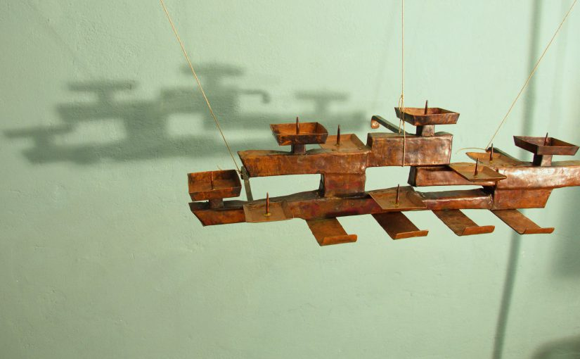 brutalist 50s copper wall-candleholder