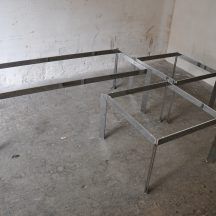 chrome & glas coffee table + side table