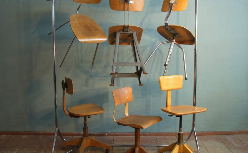 vintage industrial stools and chairs