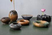 set of 7 ikebana studio ceramics