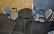 50s stahlrohr set tisch + 2 stühle