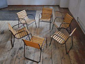 6x stahlrohr eiche stuhl