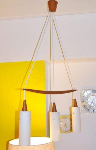 dänische triple opalglas-leuchte teak