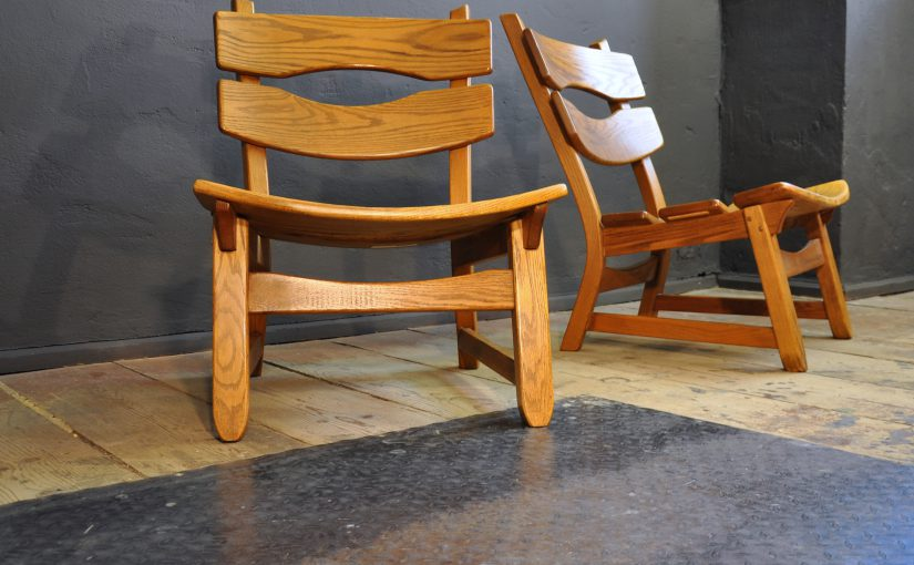 Oak Lounge Chairs, 1960s