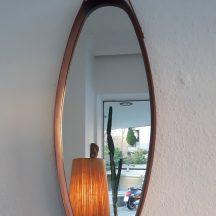 oval teak mirror, italy 1960s