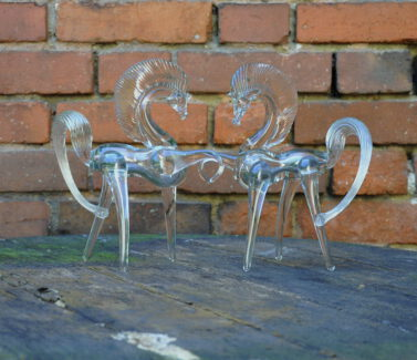 pair glass horses 1950s