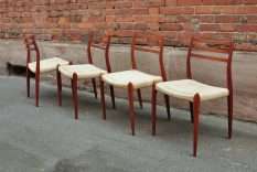 set of 4 møller model 78 dining chairs