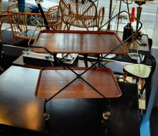 swedish 50s string serving cart teak