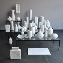 white midcenturymodernist vases