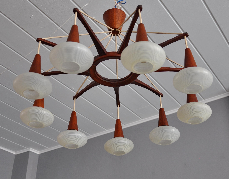 Teak Sputnik Chandelier Deckenleuchten 60er Skandinavisches Design Wohnstudio Weingart