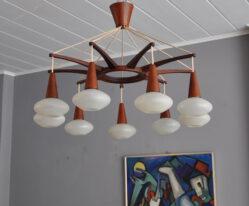 teak sputnik chandelier