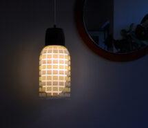 60s teak/ glass pendant light