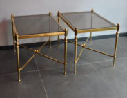pair 60s brass tables
