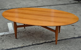 oval 60s walnut sofa-table
