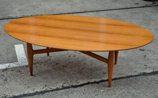 oval 60s walnut sofa-table